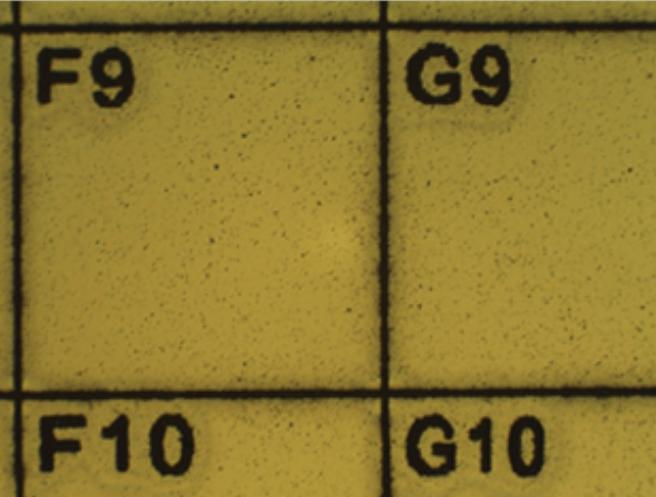Značení na polovodičovém waferu (buňka 1x1mm)