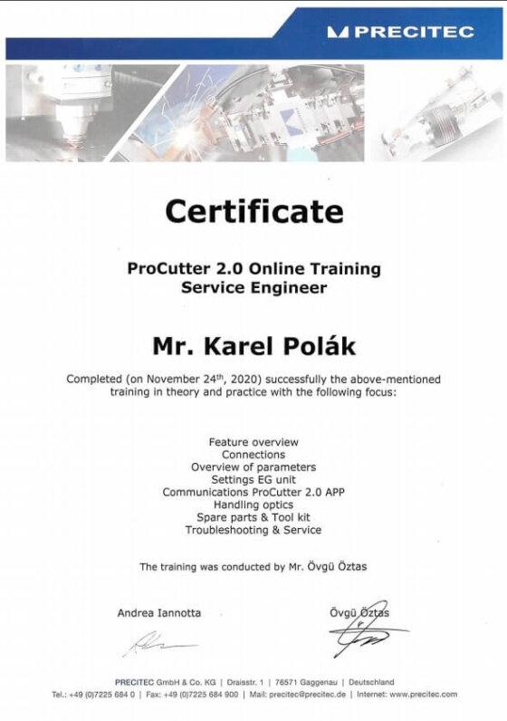 Certifikace PRECITEC Procutter 2.0.