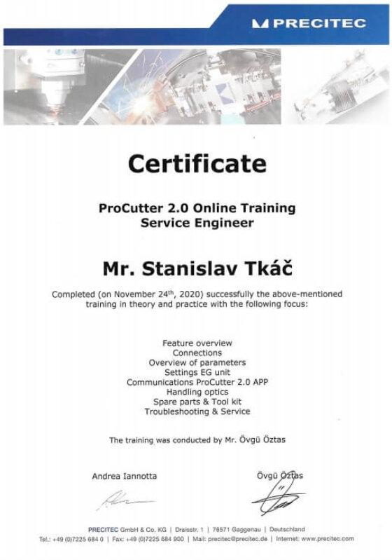 Certifikace PRECITEC Procutter 2.0